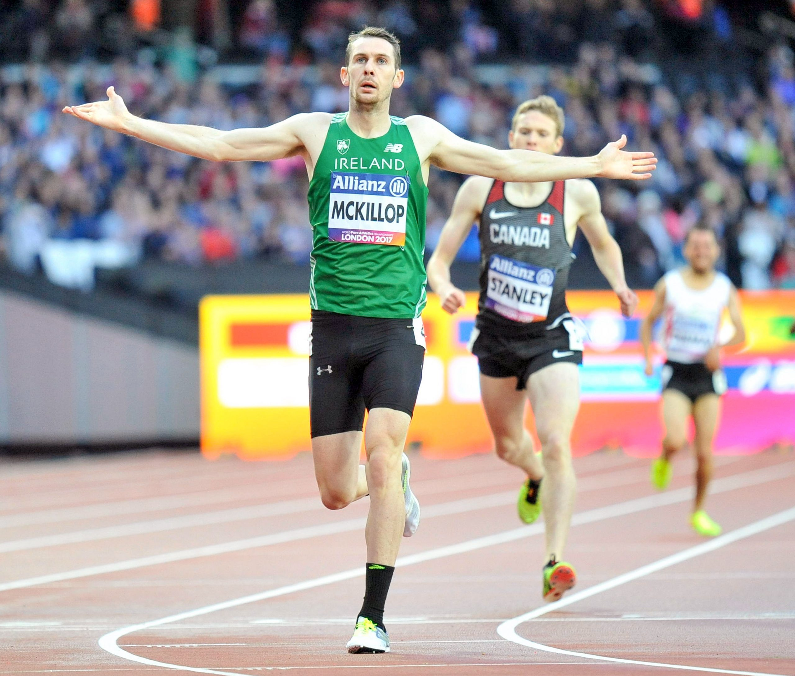 22 July 2017; Michael McKillop of Ireland after winning the Men's 1500m, T37, Final during the 2017 Para Athletics World Championships at the Olympic Stadium in London. Photo by Luc Percival/Sportsfile *** NO REPRODUCTION FEE ***