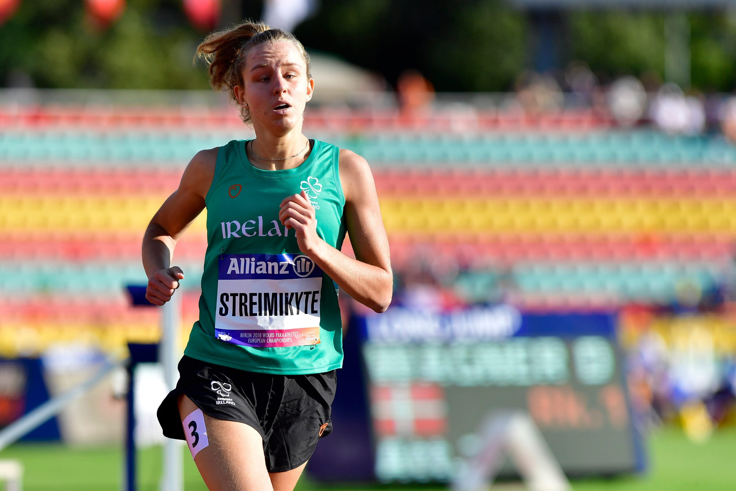 21 August 2018; Greta Streimikyte of Ireland on her way to winning gold in the Women's T13 1500m's during the 2018 World Para Athletics European Championships at Friedrich-Ludwig-Jahn-Sportpark in Berlin, Germany. Photo by Luc Percival/Sportsfile *** NO REPRODUCTION FEE ***