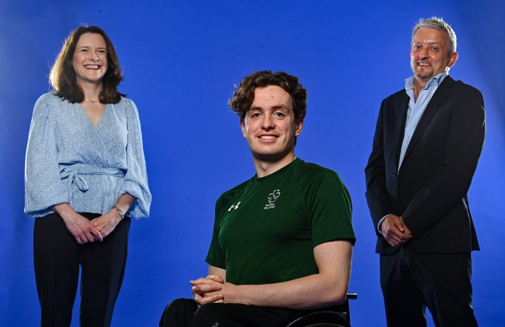 Pictured; Paralympics Ireland CEO, Miriam Malone, Para Swimmer Patrick Flanagan and The Vision Group Director, Dave Lahart