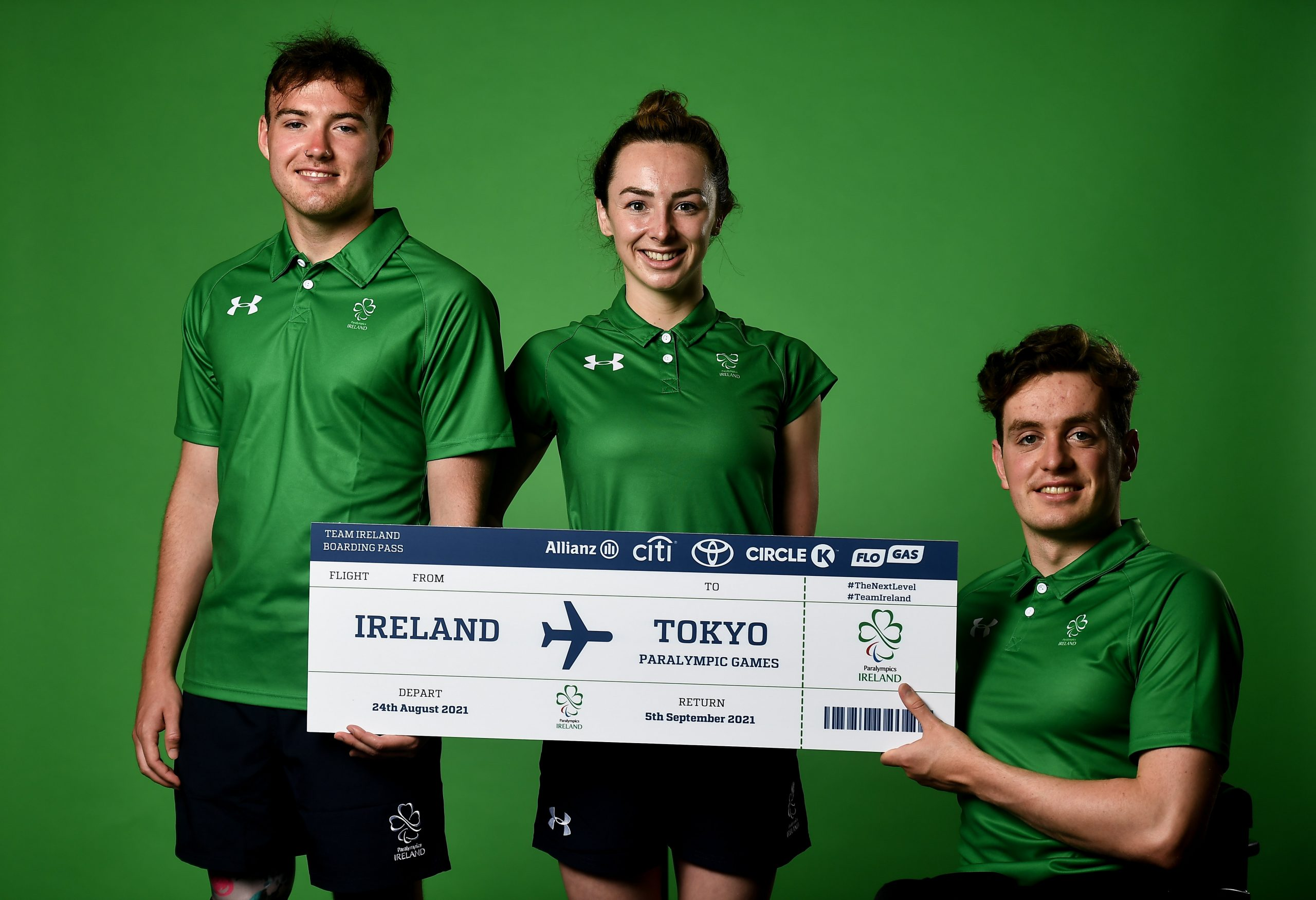 22 July 2021; Swimmers Barry McClements, left, Ellen Keane and Patrick Flanagan during a Tokyo 2020 Paralympic Games Team Announcement at Abbotstown in Dublin. Photo by David Fitzgerald/Sportsfile *** NO REPRODUCTION FEE ***