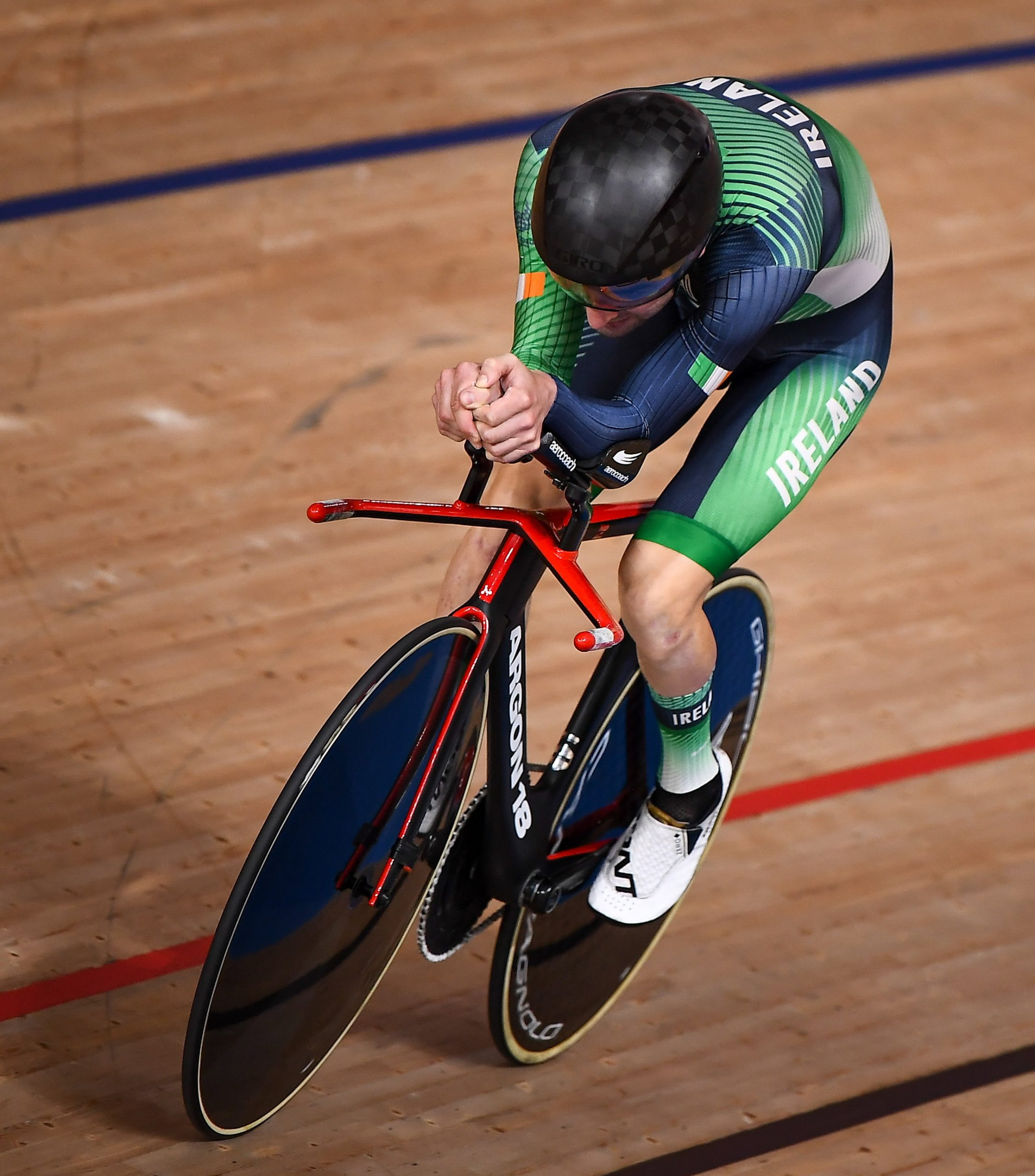 26 August 2021; Ronan Grimes of Ireland competes in the Men's C4-5 1000 metre time trial at the Izu Velodrome on day two during the Tokyo 2020 Paralympic Games in Tokyo, Japan. Photo by David Fitzgerald/Sportsfile *** NO REPRODUCTION FEE ***