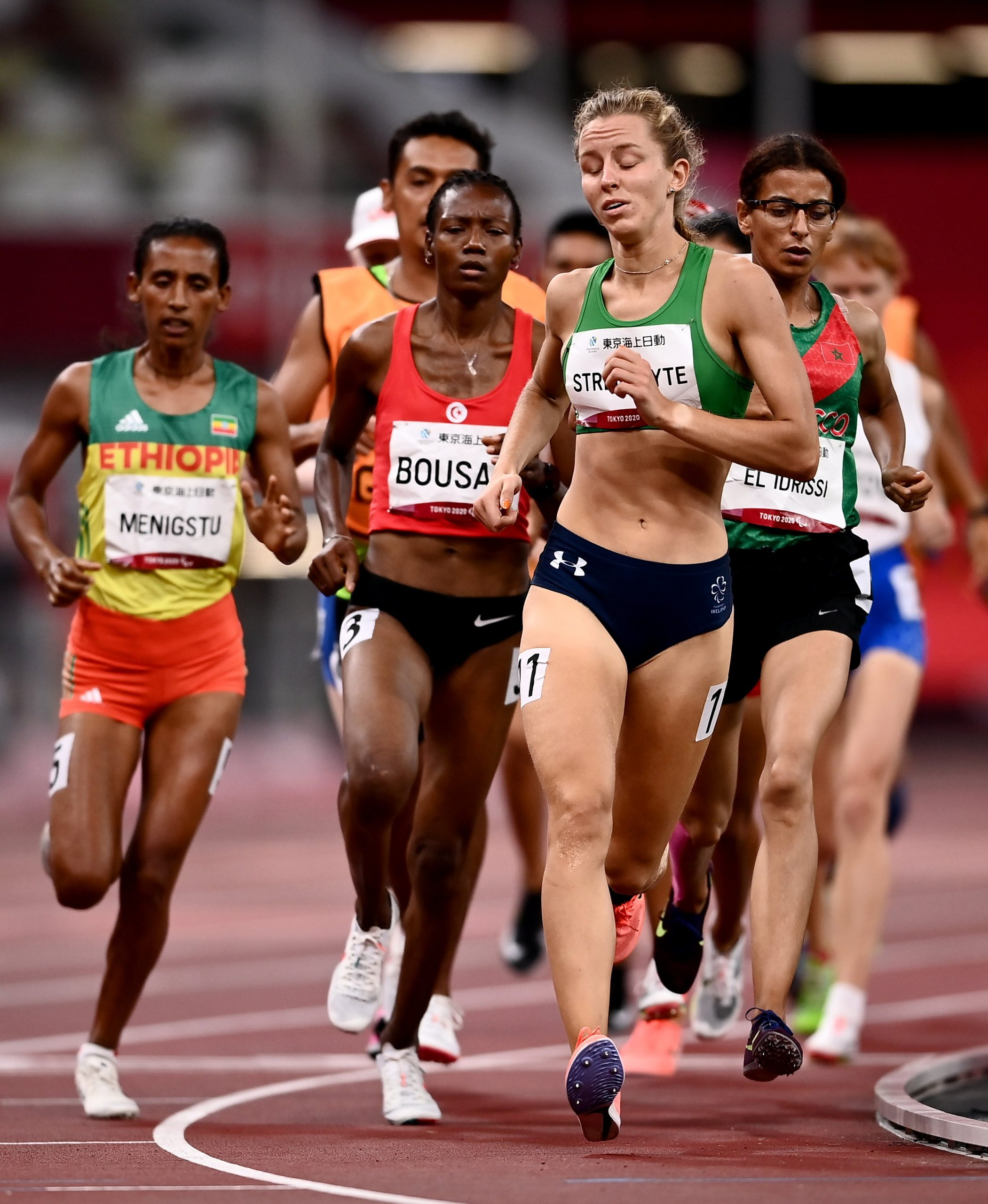 28 August 2021; Greta Streimikyte of Ireland competes in the T13 Women's 1500 metre final at the Olympic Stadium on day four during the Tokyo 2020 Paralympic Games in Tokyo, Japan. Photo by David Fitzgerald/Sportsfile *** NO REPRODUCTION FEE ***