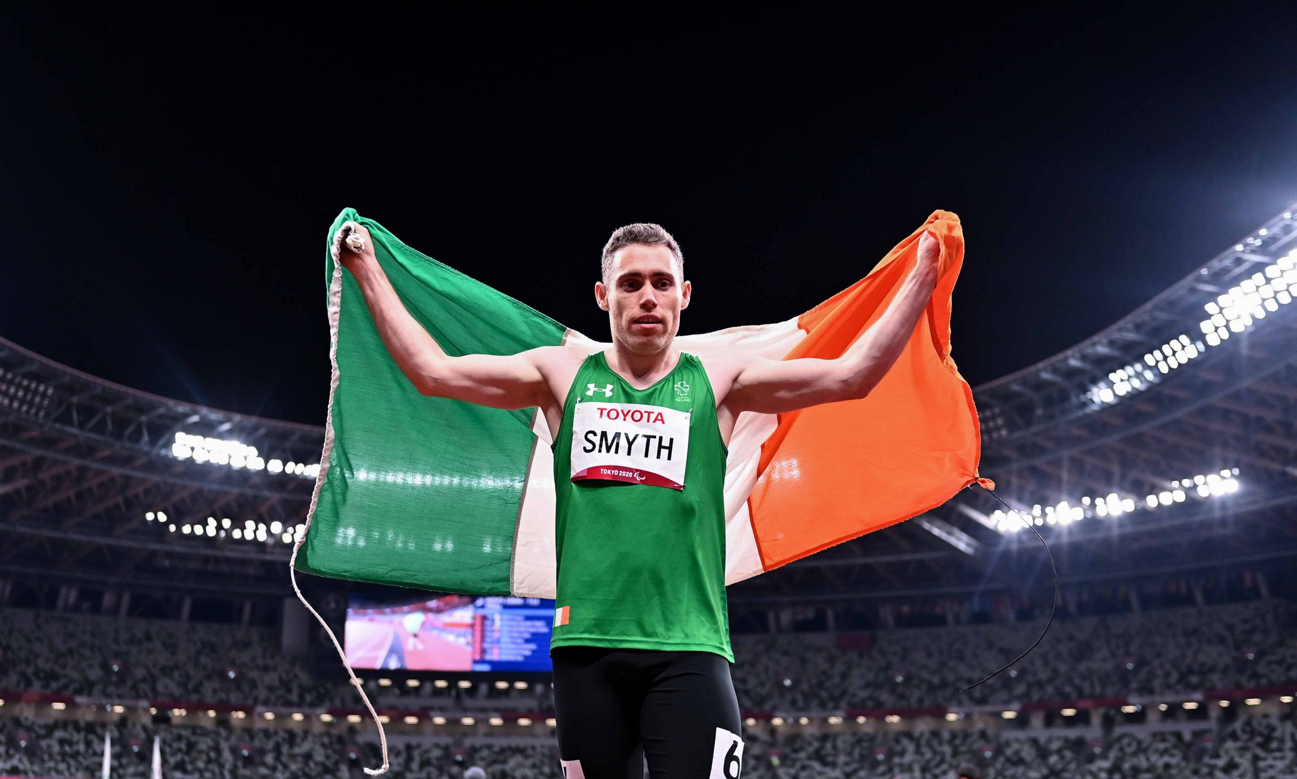 29 August 2021; Jason Smyth of Ireland after winning the T13 Men's 100 metre final at the Olympic Stadium on day five during the Tokyo 2020 Paralympic Games in Tokyo, Japan. Photo by Sam Barnes/Sportsfile *** NO REPRODUCTION FEE ***