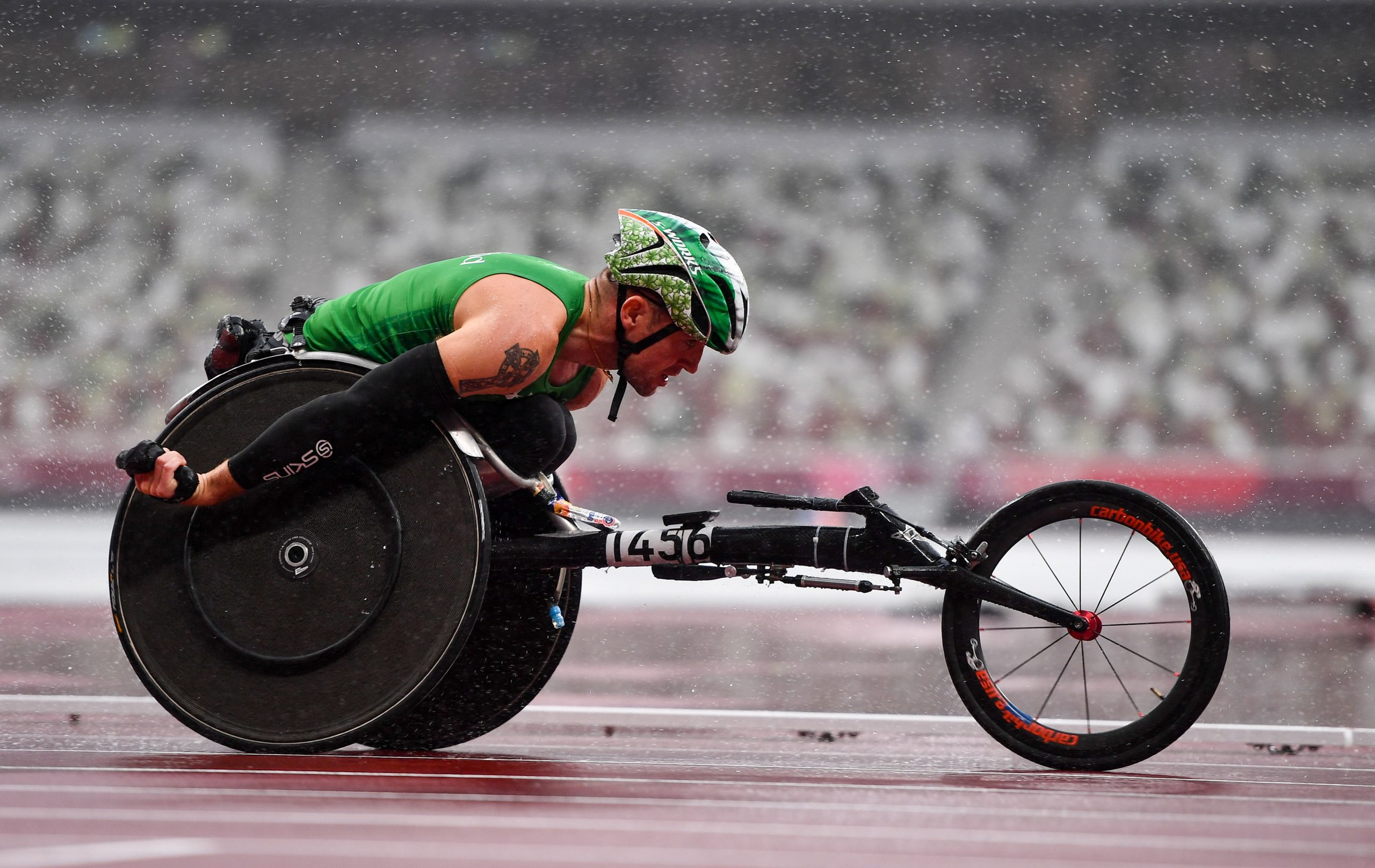 5 September 2021; Patrick Monahan of Ireland competing in the Men's T54 Marathon at the Olympic Stadium on day twelve during the Tokyo 2020 Paralympic Games in Tokyo, Japan. Photo by Sam Barnes/Sportsfile *** NO REPRODUCTION FEE ***